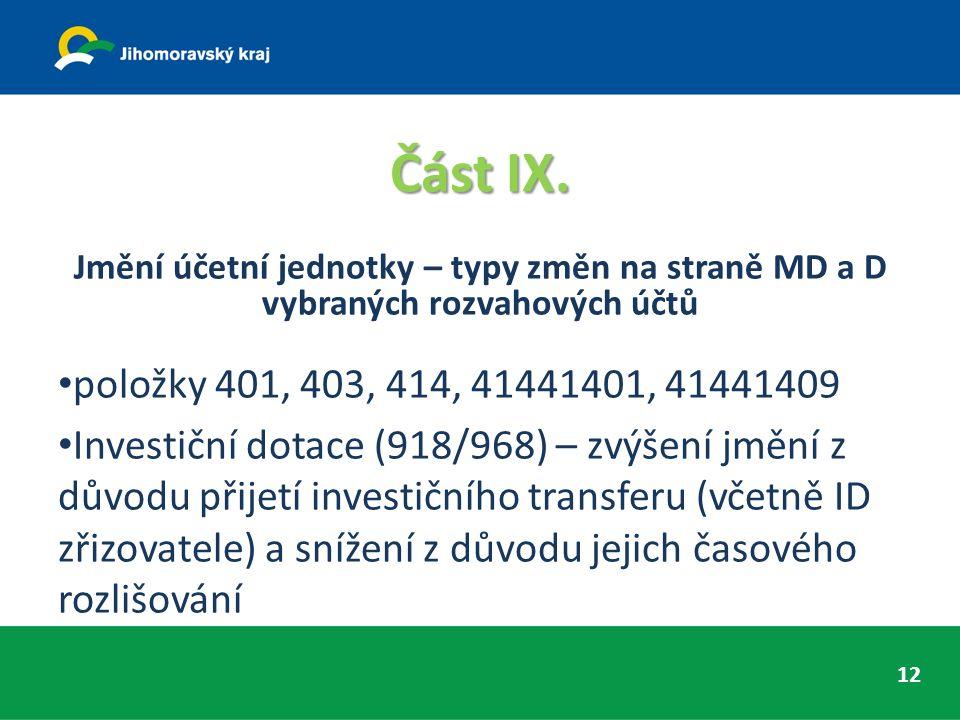 Část IX. Jmění účetní jednotky – typy změn na straně MD a D vybraných rozvahových účtů položky 401, 403, 414, 41441401, 41441409 Investiční dotace (91