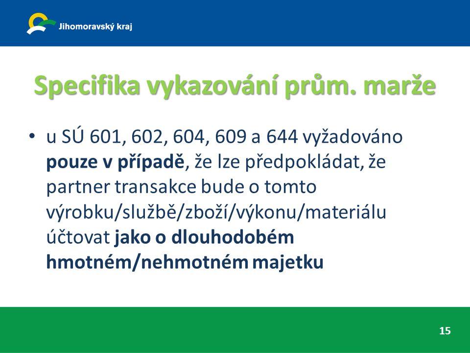 Specifika vykazování prům. marže u SÚ 601, 602, 604, 609 a 644 vyžadováno pouze v případě, že lze předpokládat, že partner transakce bude o tomto výro