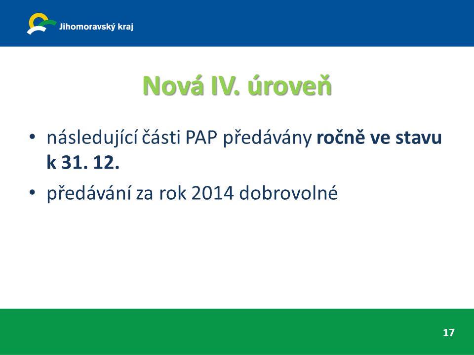 Nová IV. úroveň následující části PAP předávány ročně ve stavu k 31. 12. předávání za rok 2014 dobrovolné 17