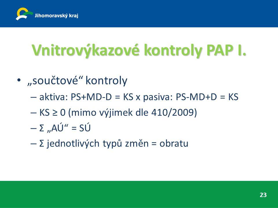 """Vnitrovýkazové kontroly PAP I. """"součtové"""" kontroly – aktiva: PS+MD-D = KS x pasiva: PS-MD+D = KS – KS ≥ 0 (mimo výjimek dle 410/2009) – Σ """"AÚ"""" = SÚ –"""