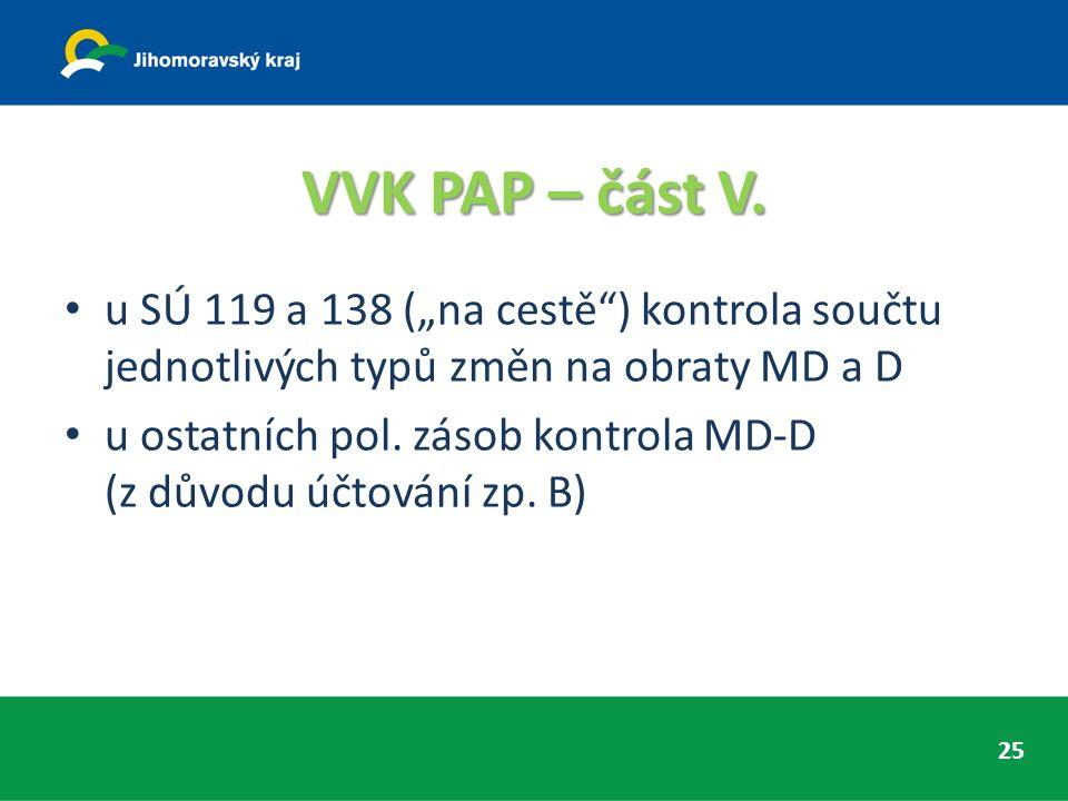"""VVK PAP – část V. u SÚ 119 a 138 (""""na cestě"""") kontrola součtu jednotlivých typů změn na obraty MD a D u ostatních pol. zásob kontrola MD-D (z důvodu ú"""