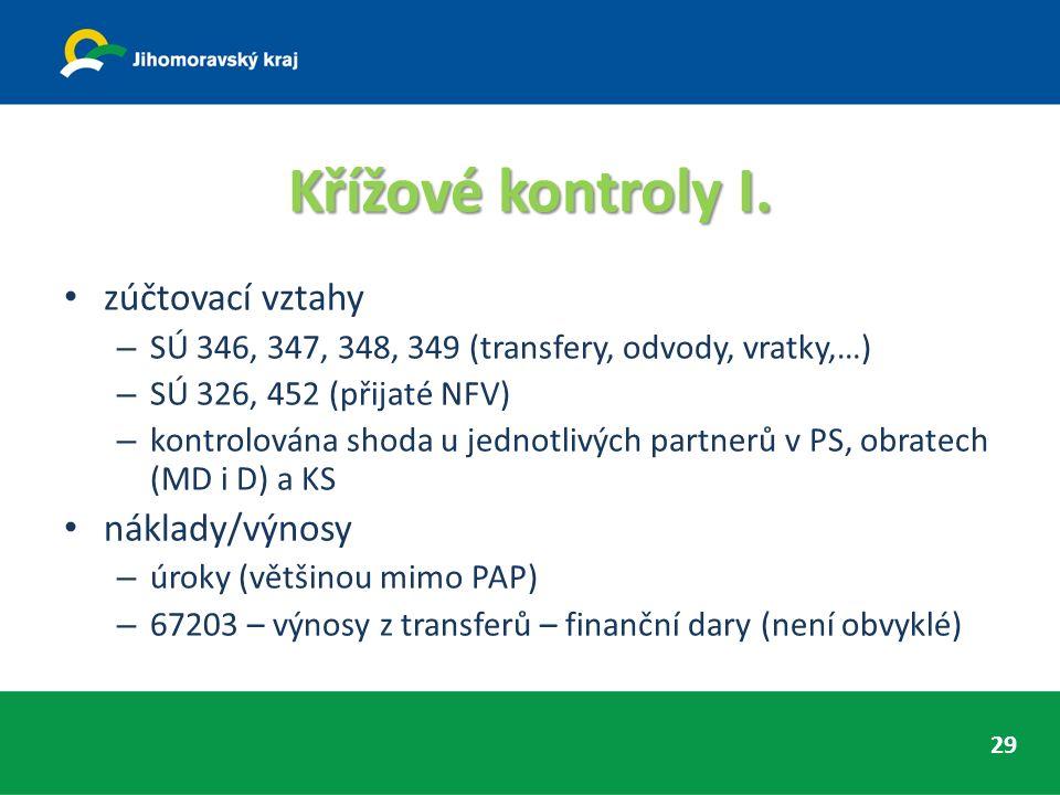 Křížové kontroly I. zúčtovací vztahy – SÚ 346, 347, 348, 349 (transfery, odvody, vratky,…) – SÚ 326, 452 (přijaté NFV) – kontrolována shoda u jednotli