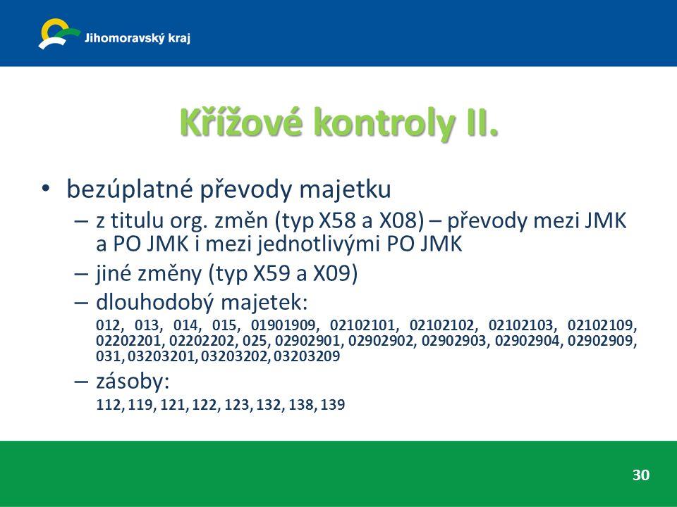 Křížové kontroly II. bezúplatné převody majetku – z titulu org. změn (typ X58 a X08) – převody mezi JMK a PO JMK i mezi jednotlivými PO JMK – jiné změ
