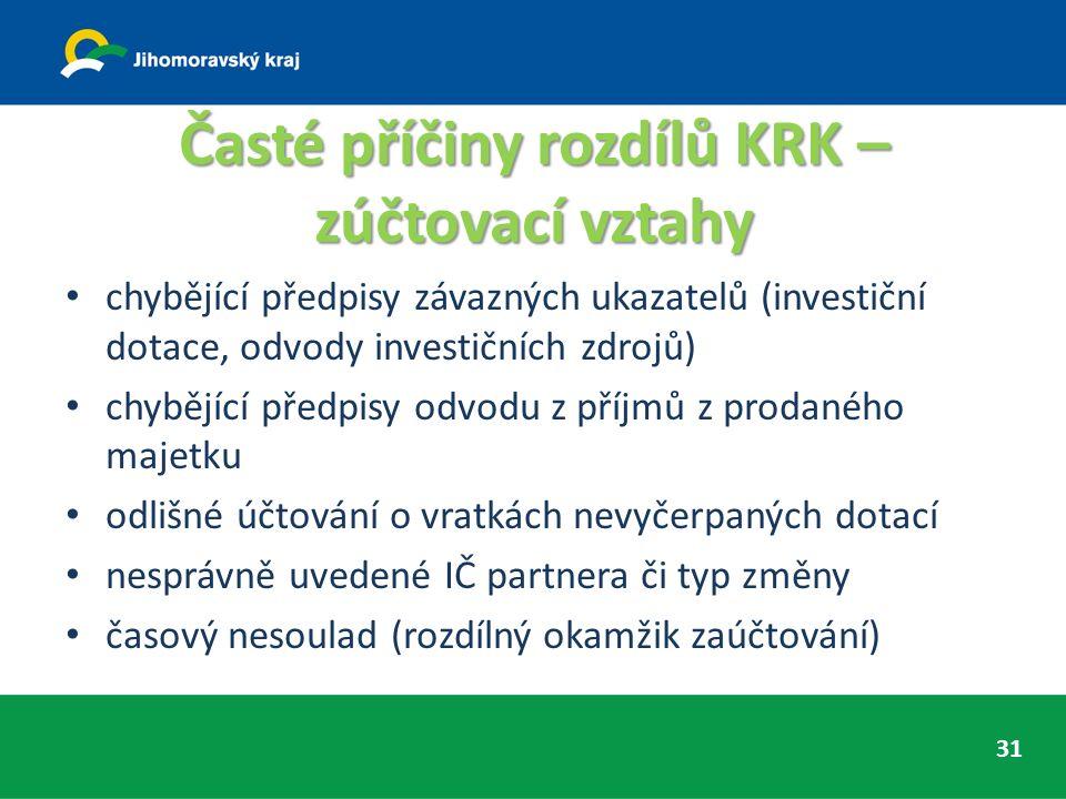 Časté příčiny rozdílů KRK – zúčtovací vztahy chybějící předpisy závazných ukazatelů (investiční dotace, odvody investičních zdrojů) chybějící předpisy