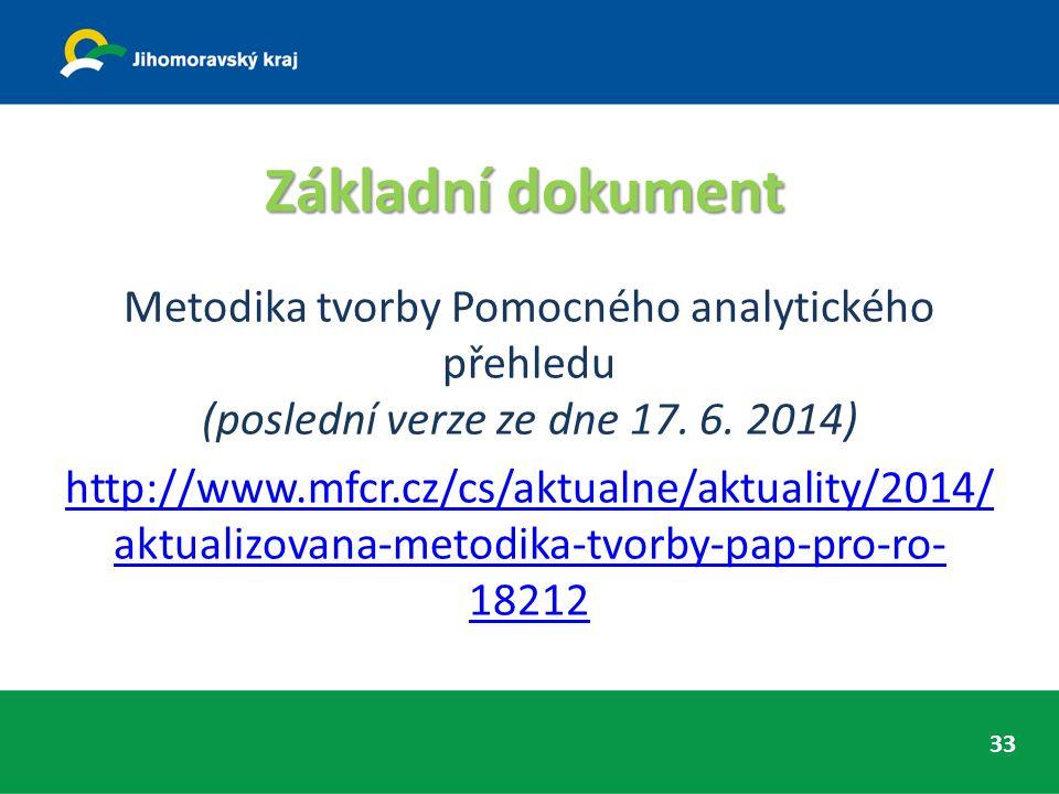 Základní dokument Metodika tvorby Pomocného analytického přehledu (poslední verze ze dne 17. 6. 2014) http://www.mfcr.cz/cs/aktualne/aktuality/2014/ a
