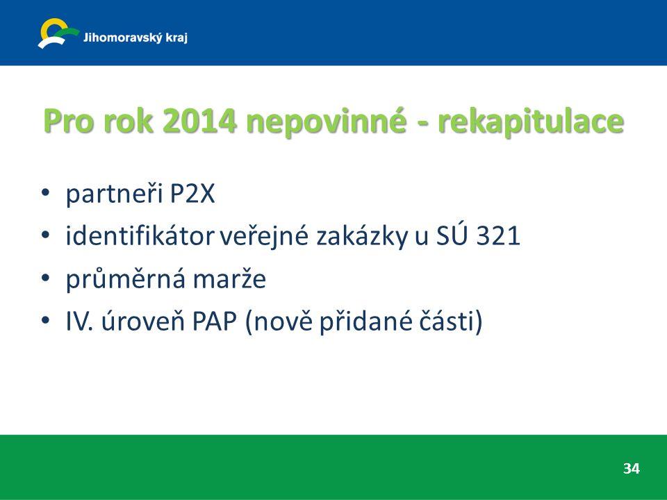Pro rok 2014 nepovinné - rekapitulace partneři P2X identifikátor veřejné zakázky u SÚ 321 průměrná marže IV. úroveň PAP (nově přidané části) 34