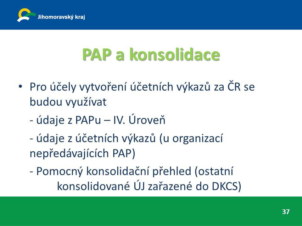 PAP a konsolidace Pro účely vytvoření účetních výkazů za ČR se budou využívat - údaje z PAPu – IV. Úroveň - údaje z účetních výkazů (u organizací nepř