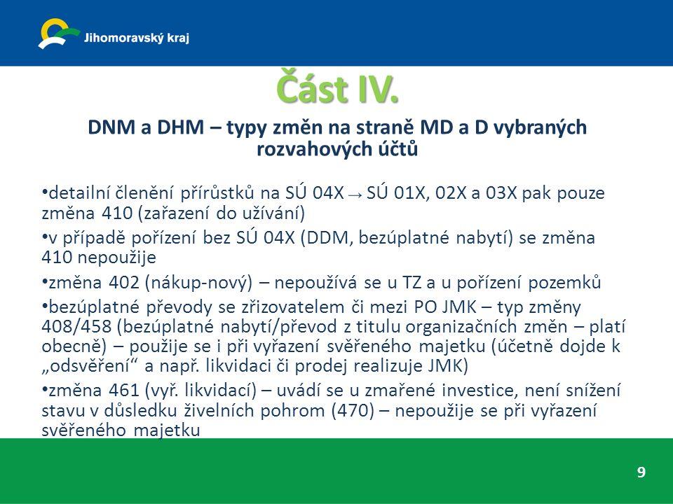 Část IV. DNM a DHM – typy změn na straně MD a D vybraných rozvahových účtů detailní členění přírůstků na SÚ 04X → SÚ 01X, 02X a 03X pak pouze změna 41