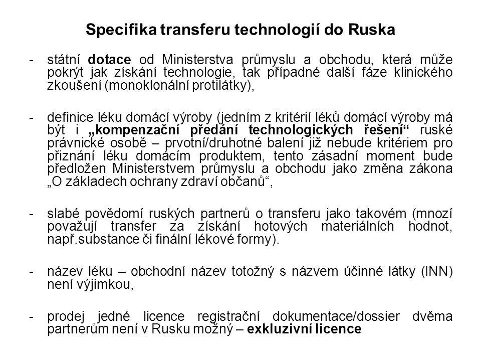 """Specifika transferu technologií do Ruska -státní dotace od Ministerstva průmyslu a obchodu, která může pokrýt jak získání technologie, tak případné další fáze klinického zkoušení (monoklonální protilátky), -definice léku domácí výroby (jedním z kritérií léků domácí výroby má být i """"kompenzační předání technologických řešení ruské právnické osobě – prvotní/druhotné balení již nebude kritériem pro přiznání léku domácím produktem, tento zásadní moment bude předložen Ministerstvem průmyslu a obchodu jako změna zákona """"O základech ochrany zdraví občanů , -slabé povědomí ruských partnerů o transferu jako takovém (mnozí považují transfer za získání hotových materiálních hodnot, např.substance či finální lékové formy)."""