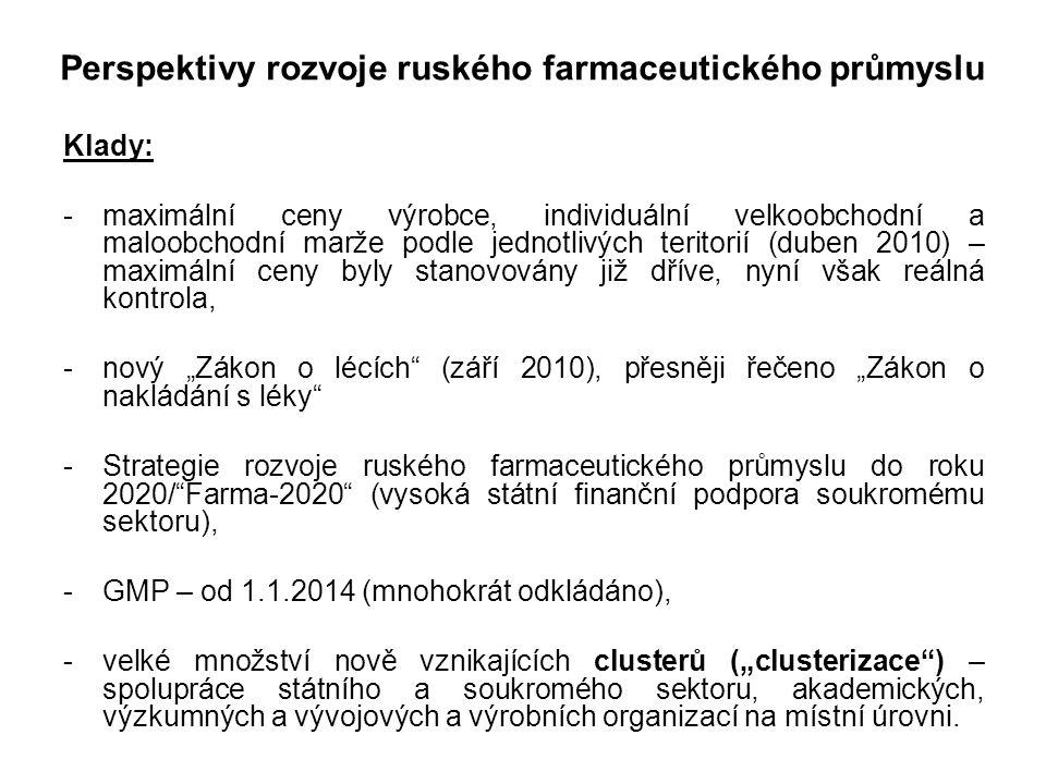 Příklady z praxe - patenty Milanfor vs.Velcade (INN: Bortezomib) Bortezomib (INN) Onkologický lék k léčení progresivního četného myelomu (kostního nádoru), užívá se u pacientů, kteří nemohou podstoupit transplantaci kostní dřeně, nejnákladnější státem hrazený preparát v Rusku, nákupy v roce 2010: cca 200 mil.USD, Velcade Originální preparát, vyráběný firmou Janssen-Cilag/Belgie a balený exkluzivním distributorem, ruskou firmou Farmstandard, zaregistrovaný dne 26.10.2006 (v Rusku je patentově chráněn pouze výrobní proces, nikoli molekula samotná), Milanfor Generický produkt, vyráběný ruskou firmou Farm-Syntez, zaregistrovaný dne 30.04.2009