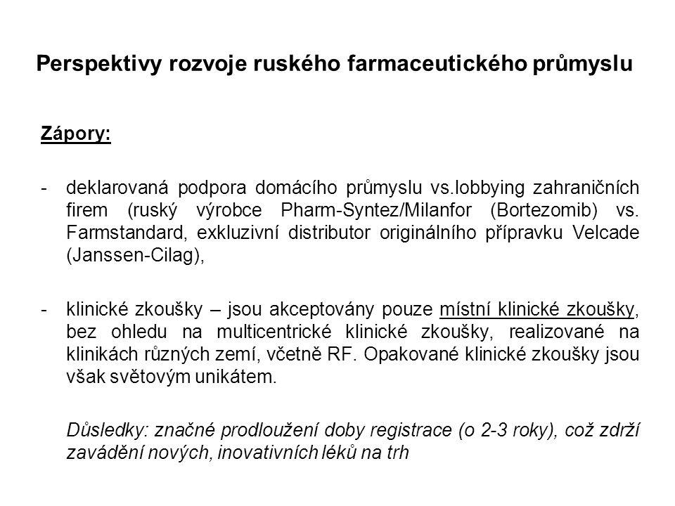 Perspektivy rozvoje ruského farmaceutického průmyslu Zápory: -deklarovaná podpora domácího průmyslu vs.lobbying zahraničních firem (ruský výrobce Pharm-Syntez/Milanfor (Bortezomib) vs.