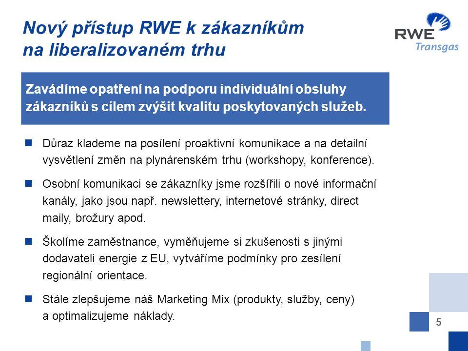 5 Nový přístup RWE k zákazníkům na liberalizovaném trhu Zavádíme opatření na podporu individuální obsluhy zákazníků s cílem zvýšit kvalitu poskytovaných služeb.