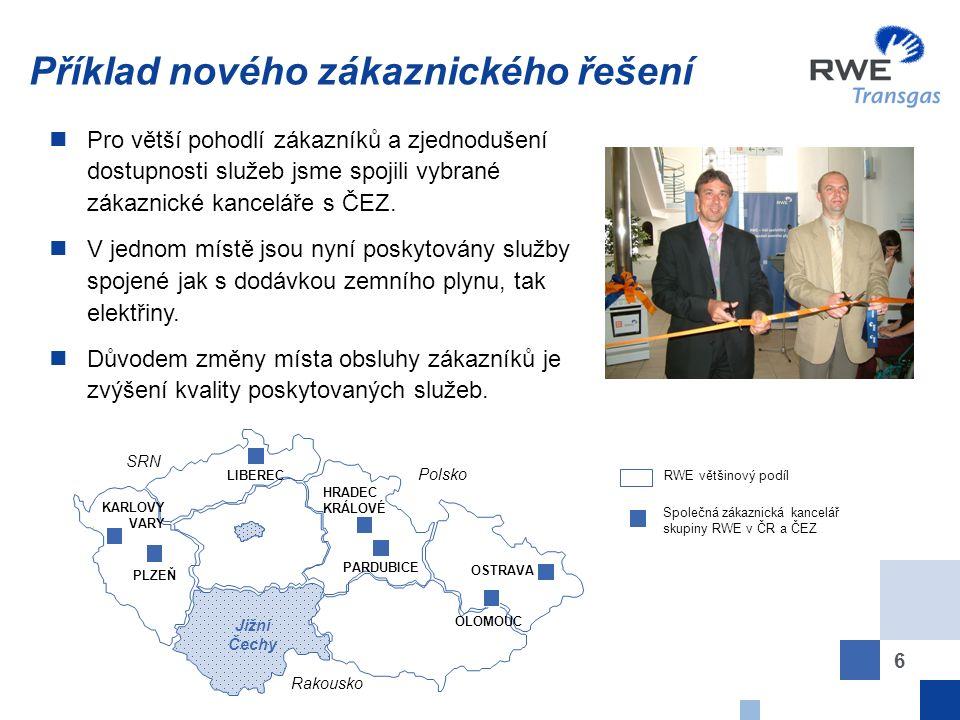 6 Příklad nového zákaznického řešení RWE většinový podíl Společná zákaznická kancelář skupiny RWE v ČR a ČEZ SRN Polsko Rakousko Jižní Čechy LIBEREC PLZEŇ KARLOVY VARY HRADEC KRÁLOVÉ PARDUBICE OLOMOUC OSTRAVA Pro větší pohodlí zákazníků a zjednodušení dostupnosti služeb jsme spojili vybrané zákaznické kanceláře s ČEZ.
