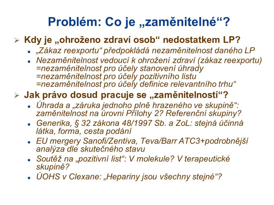 """Problém: Co je """"zaměnitelné .  Kdy je """"ohroženo zdraví osob nedostatkem LP."""