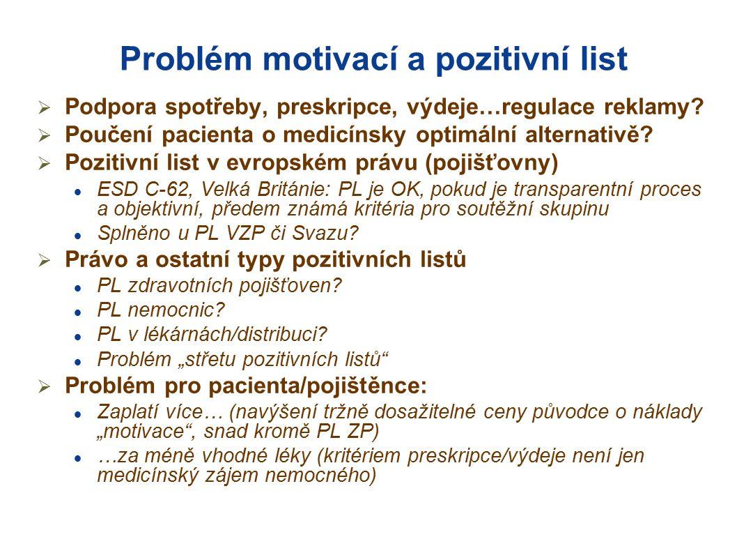 Problém motivací a pozitivní list  Podpora spotřeby, preskripce, výdeje…regulace reklamy.