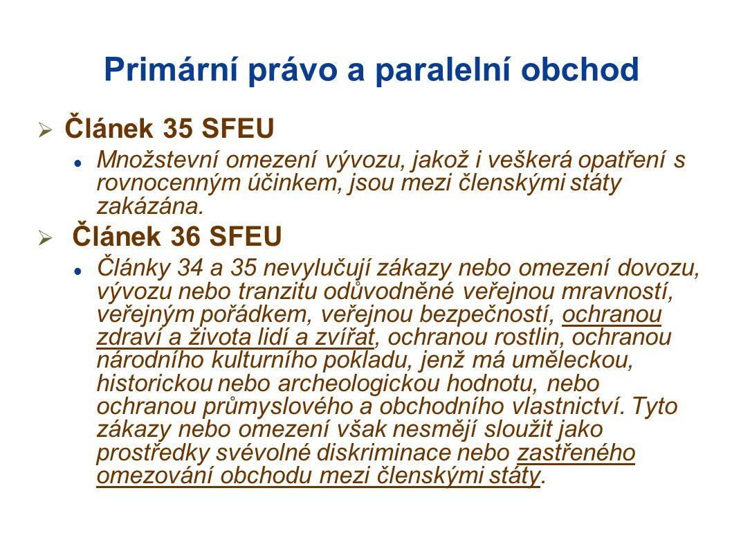 Primární právo a paralelní obchod  Článek 35 SFEU Množstevní omezení vývozu, jakož i veškerá opatření s rovnocenným účinkem, jsou mezi členskými státy zakázána.