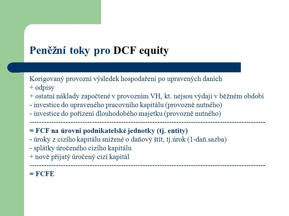 Peněžní toky pro DCF equity Korigovaný provozní výsledek hospodaření po upravených daních + odpisy + ostatní náklady započtené v provozním VH, kt.