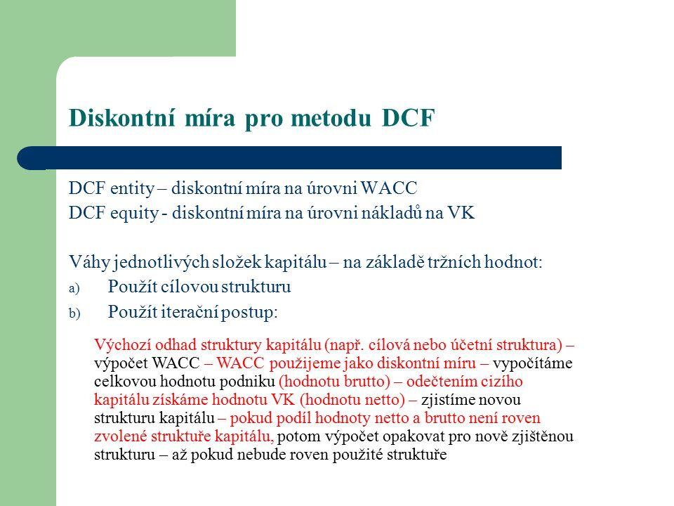 Diskontní míra pro metodu DCF DCF entity – diskontní míra na úrovni WACC DCF equity - diskontní míra na úrovni nákladů na VK Váhy jednotlivých složek kapitálu – na základě tržních hodnot: a) Použít cílovou strukturu b) Použít iterační postup: Výchozí odhad struktury kapitálu (např.