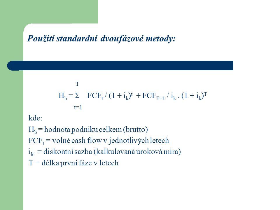 Použití standardní dvoufázové metody: T H b =  FCF t / (1 + i k ) t + FCF T+1 / i k.