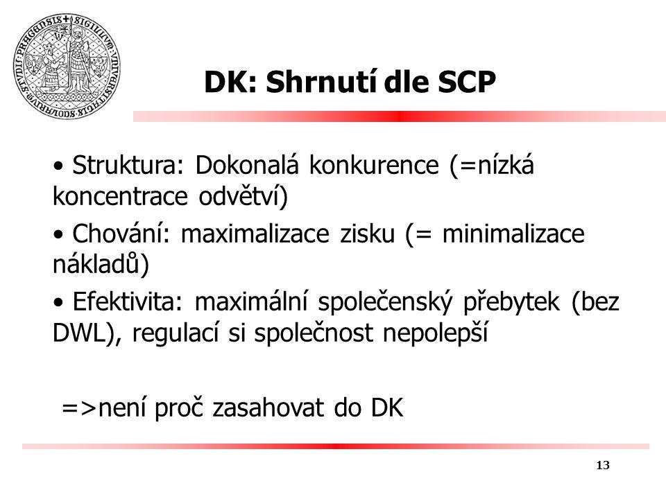 DK: Shrnutí dle SCP Struktura: Dokonalá konkurence (=nízká koncentrace odvětví) Chování: maximalizace zisku (= minimalizace nákladů) Efektivita: maximální společenský přebytek (bez DWL), regulací si společnost nepolepší =>není proč zasahovat do DK 13