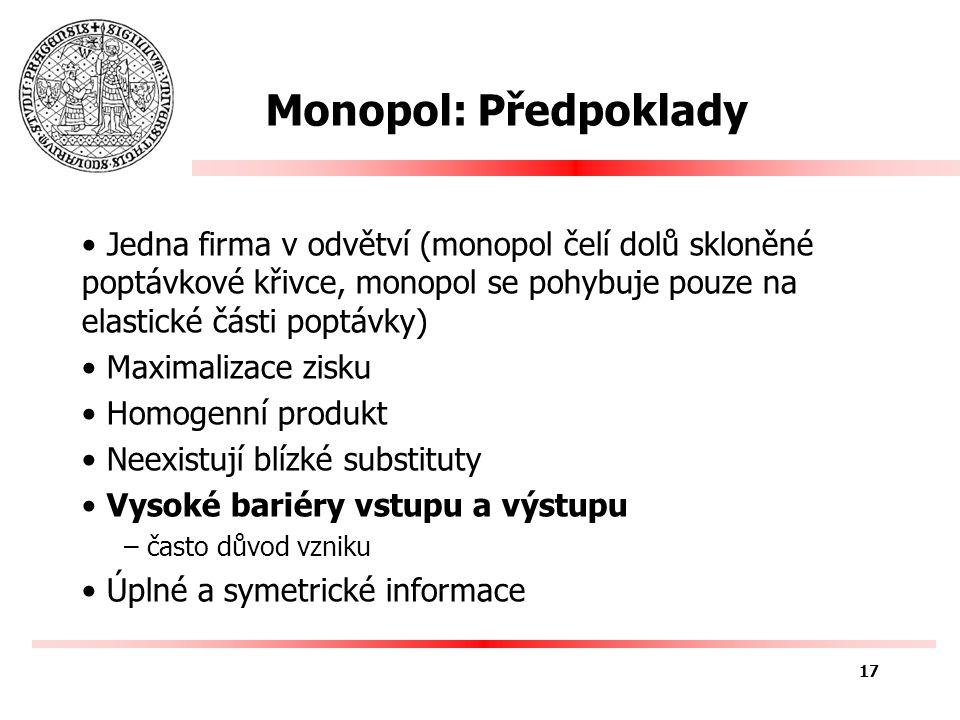 Monopol: Předpoklady Jedna firma v odvětví (monopol čelí dolů skloněné poptávkové křivce, monopol se pohybuje pouze na elastické části poptávky) Maximalizace zisku Homogenní produkt Neexistují blízké substituty Vysoké bariéry vstupu a výstupu – často důvod vzniku Úplné a symetrické informace 17