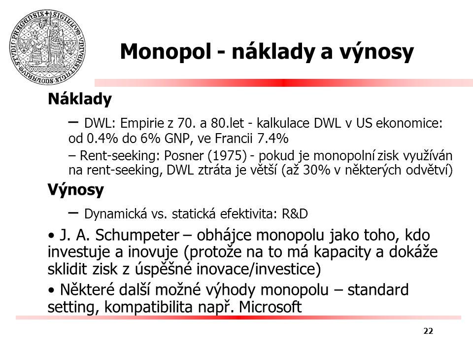 Monopol - náklady a výnosy Náklady – DWL: Empirie z 70.
