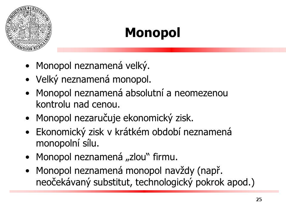 Monopol neznamená velký. Velký neznamená monopol.