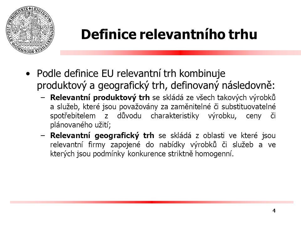 Definice relevantního trhu Podle definice EU relevantní trh kombinuje produktový a geografický trh, definovaný následovně: –Relevantní produktový trh se skládá ze všech takových výrobků a služeb, které jsou považovány za zaměnitelné či substituovatelné spotřebitelem z důvodu charakteristiky výrobku, ceny či plánovaného užití; –Relevantní geografický trh se skládá z oblasti ve které jsou relevantní firmy zapojené do nabídky výrobků či služeb a ve kterých jsou podmínky konkurence striktně homogenní.