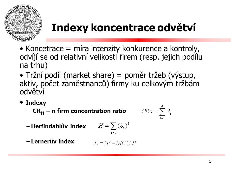 Indexy koncentrace odvětví Koncetrace = míra intenzity konkurence a kontroly, odvíjí se od relativní velikosti firem (resp.