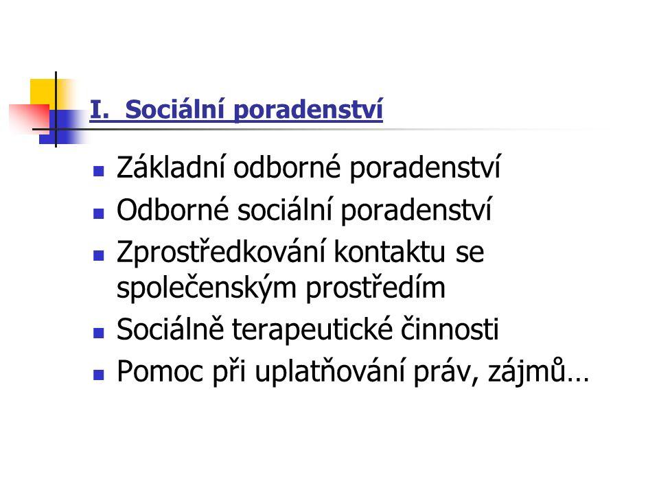 I. Sociální poradenství Základní odborné poradenství Odborné sociální poradenství Zprostředkování kontaktu se společenským prostředím Sociálně terapeu