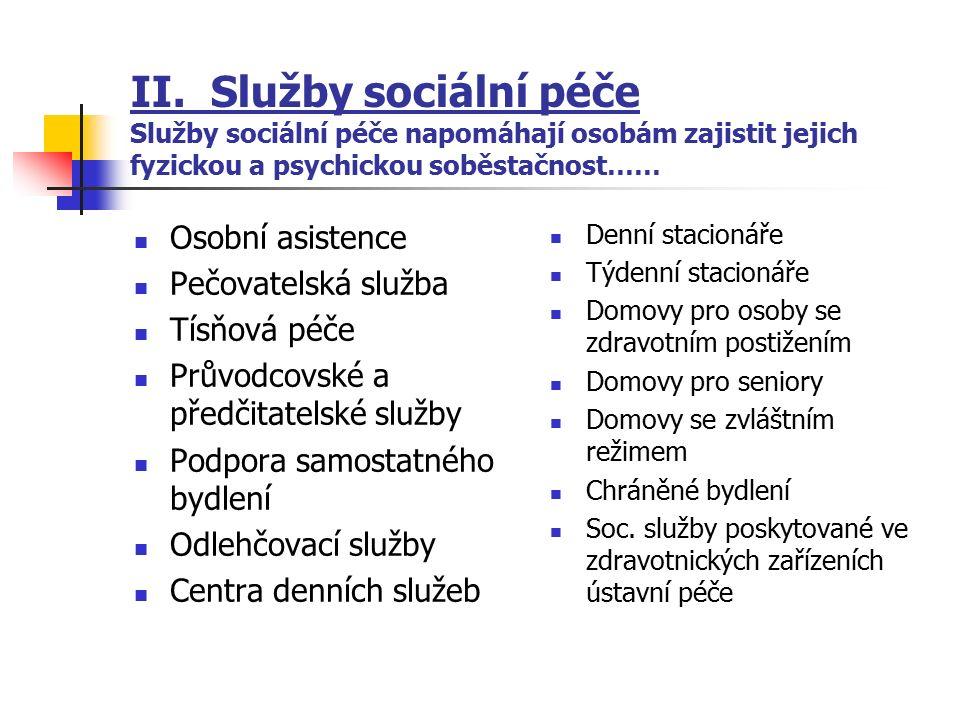 II. Služby sociální péče Služby sociální péče napomáhají osobám zajistit jejich fyzickou a psychickou soběstačnost…… Osobní asistence Pečovatelská slu