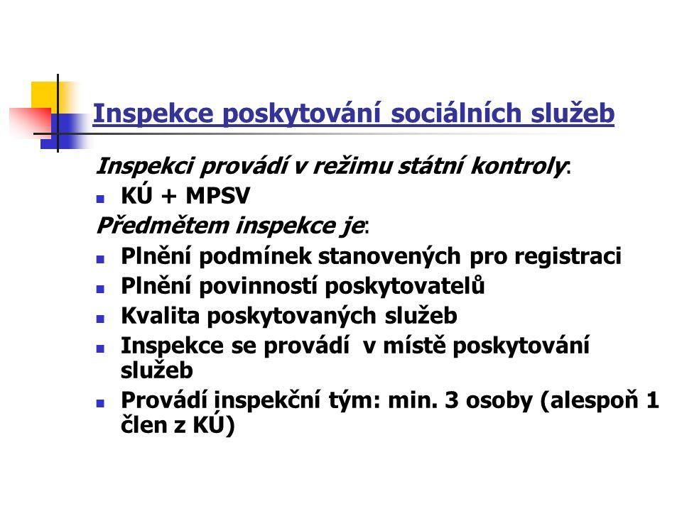 Inspekce poskytování sociálních služeb Inspekci provádí v režimu státní kontroly: KÚ + MPSV Předmětem inspekce je: Plnění podmínek stanovených pro registraci Plnění povinností poskytovatelů Kvalita poskytovaných služeb Inspekce se provádí v místě poskytování služeb Provádí inspekční tým: min.