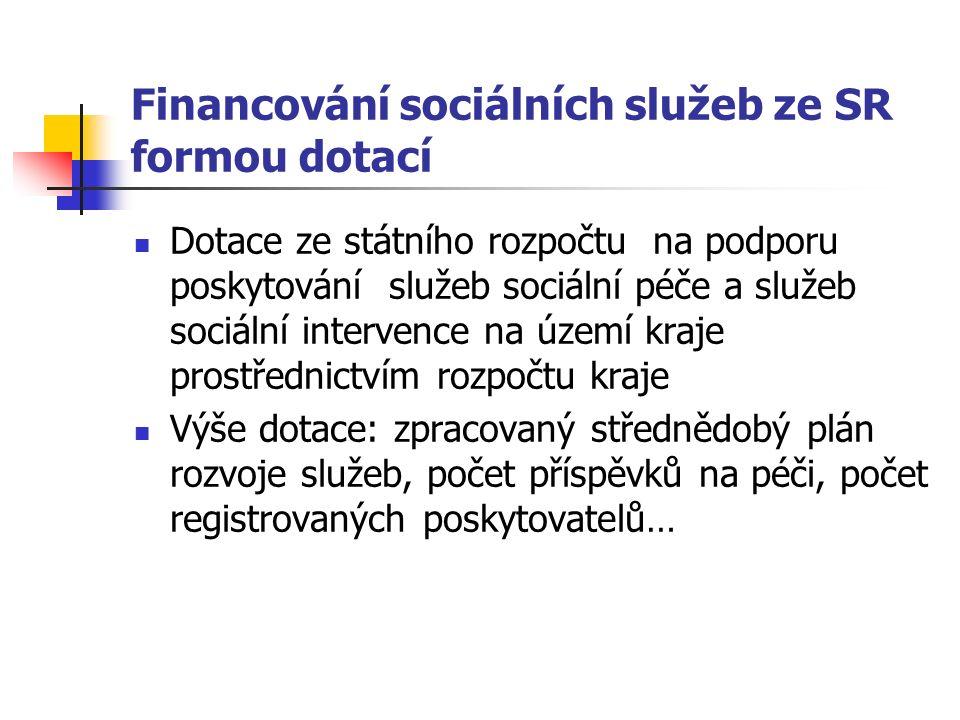Financování sociálních služeb ze SR formou dotací Dotace ze státního rozpočtu na podporu poskytování služeb sociální péče a služeb sociální intervence na území kraje prostřednictvím rozpočtu kraje Výše dotace: zpracovaný střednědobý plán rozvoje služeb, počet příspěvků na péči, počet registrovaných poskytovatelů…