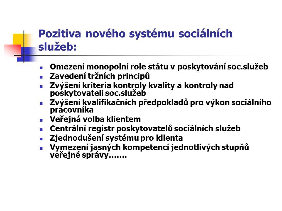 Pozitiva nového systému sociálních služeb: Omezení monopolní role státu v poskytování soc.služeb Zavedení tržních principů Zvýšení kriteria kontroly kvality a kontroly nad poskytovateli soc.služeb Zvýšení kvalifikačních předpokladů pro výkon sociálního pracovníka Veřejná volba klientem Centrální registr poskytovatelů sociálních služeb Zjednodušení systému pro klienta Vymezení jasných kompetencí jednotlivých stupňů veřejné správy…….