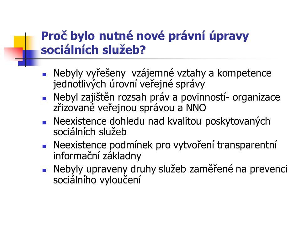 Proč bylo nutné nové právní úpravy sociálních služeb.
