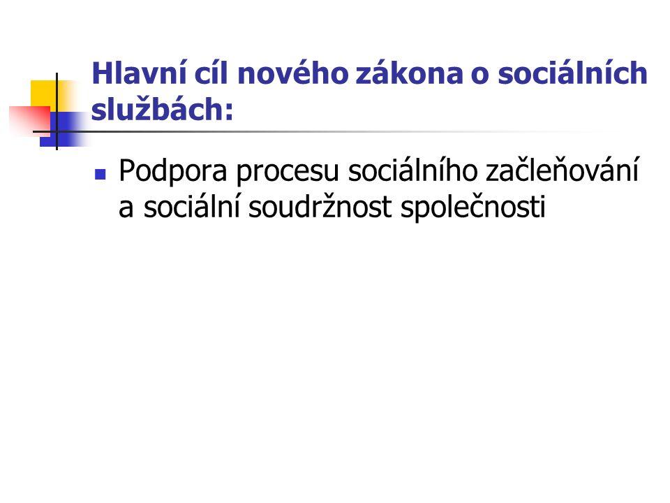 Hlavní cíl nového zákona o sociálních službách: Podpora procesu sociálního začleňování a sociální soudržnost společnosti