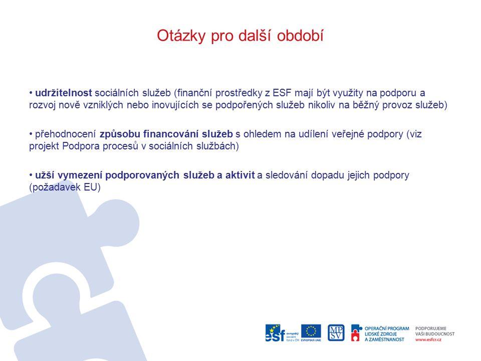 Otázky pro další období udržitelnost sociálních služeb (finanční prostředky z ESF mají být využity na podporu a rozvoj nově vzniklých nebo inovujících se podpořených služeb nikoliv na běžný provoz služeb) přehodnocení způsobu financování služeb s ohledem na udílení veřejné podpory (viz projekt Podpora procesů v sociálních službách) užší vymezení podporovaných služeb a aktivit a sledování dopadu jejich podpory (požadavek EU)