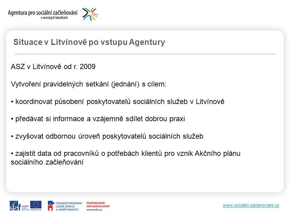 www.socialni-zaclenovani.cz Situace v Litvínově po vstupu Agentury ASZ v Litvínově od r.