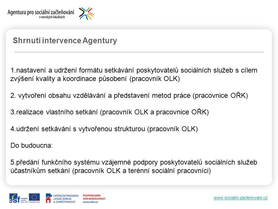 www.socialni-zaclenovani.cz Shrnutí intervence Agentury 1.nastavení a udržení formátu setkávání poskytovatelů sociálních služeb s cílem zvýšení kvality a koordinace působení (pracovník OLK) 2.