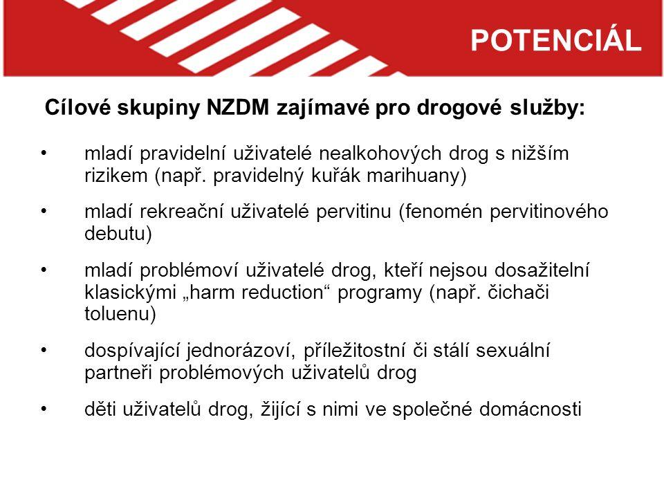 POTENCIÁL mladí pravidelní uživatelé nealkohových drog s nižším rizikem (např.