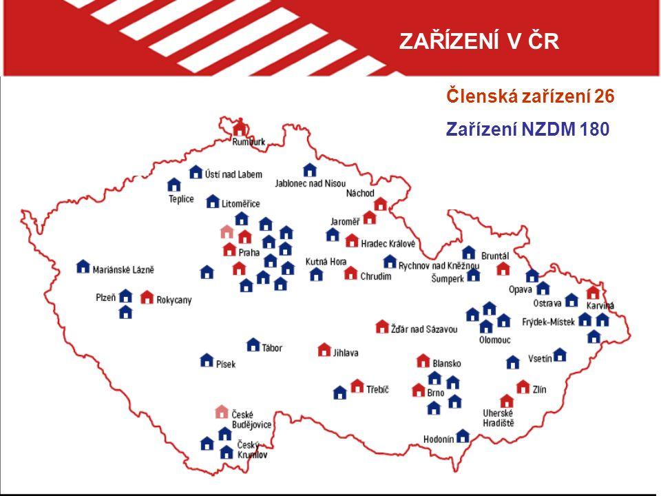 ZAŘÍZENÍ V ČR Členská zařízení 26 Zařízení NZDM 180