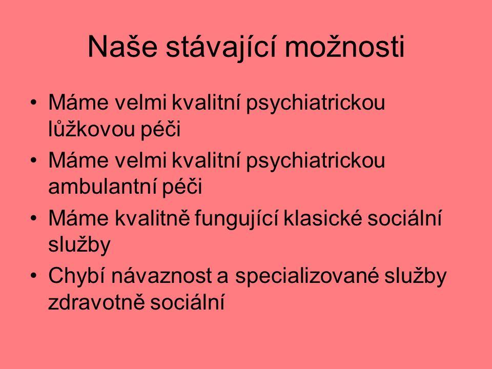 Naše stávající možnosti Máme velmi kvalitní psychiatrickou lůžkovou péči Máme velmi kvalitní psychiatrickou ambulantní péči Máme kvalitně fungující klasické sociální služby Chybí návaznost a specializované služby zdravotně sociální
