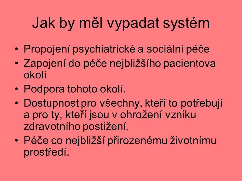 Jak by měl vypadat systém Propojení psychiatrické a sociální péče Zapojení do péče nejbližšího pacientova okolí Podpora tohoto okolí.