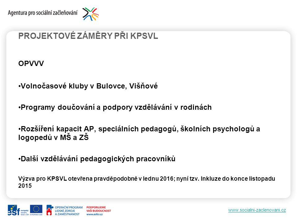 www.socialni-zaclenovani.cz OPVVV Volnočasové kluby v Bulovce, Višňové Programy doučování a podpory vzdělávání v rodinách Rozšíření kapacit AP, speciálních pedagogů, školních psychologů a logopedů v MŠ a ZŠ Další vzdělávání pedagogických pracovníků Výzva pro KPSVL otevřena pravděpodobně v lednu 2016; nyní tzv.