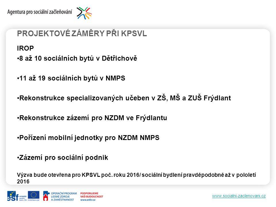 www.socialni-zaclenovani.cz PROJEKTOVÉ ZÁMĚRY PŘI KPSVL IROP 8 až 10 sociálních bytů v Dětřichově 11 až 19 sociálních bytů v NMPS Rekonstrukce special