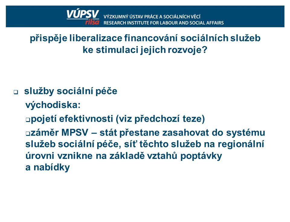 přispěje liberalizace financování sociálních služeb ke stimulaci jejich rozvoje.