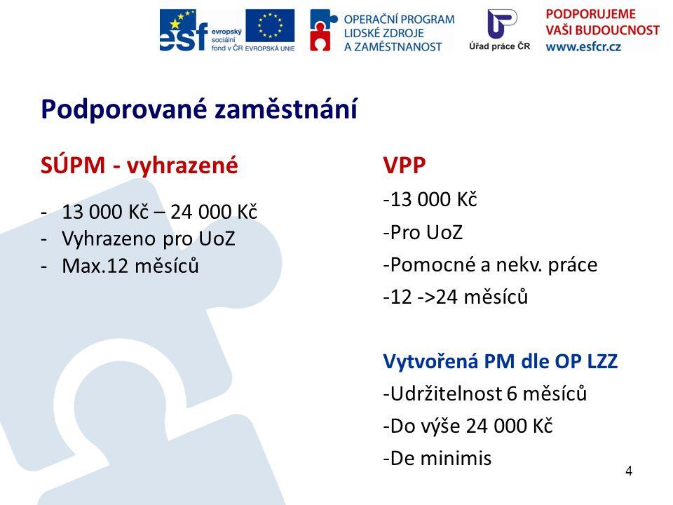 Podporované zaměstnání SÚPM - vyhrazené 4 -13 000 Kč – 24 000 Kč -Vyhrazeno pro UoZ -Max.12 měsíců VPP -13 000 Kč -Pro UoZ -Pomocné a nekv.