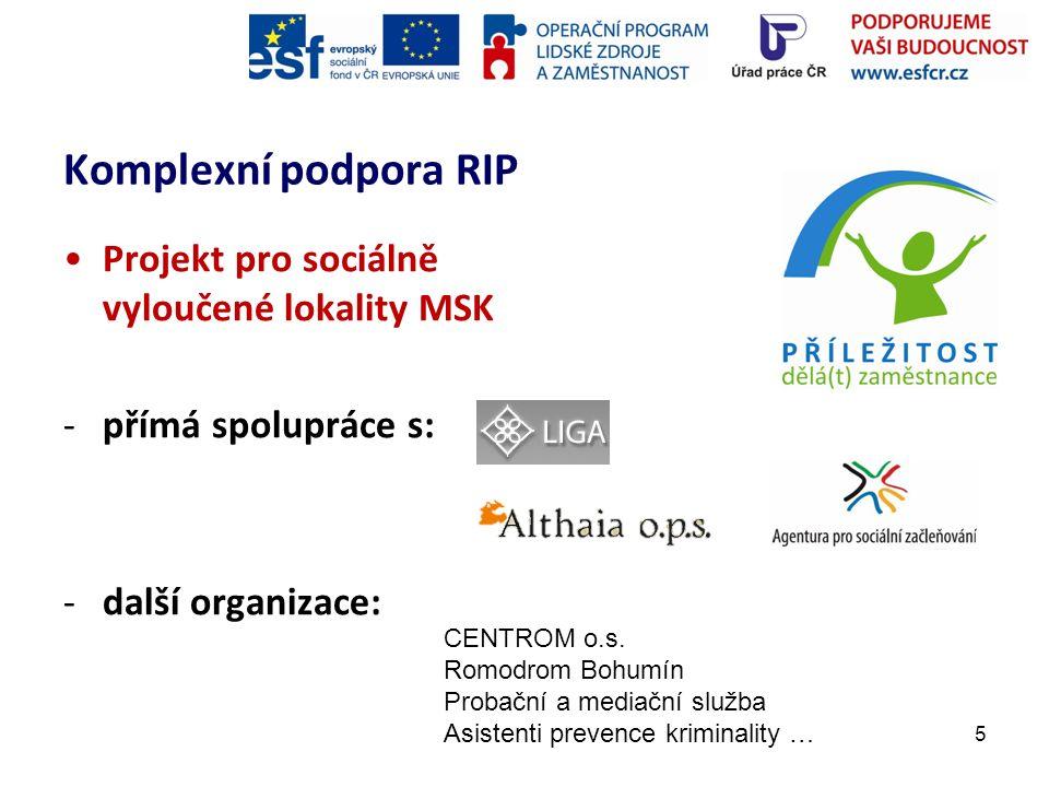 Komplexní podpora RIP Projekt pro sociálně vyloučené lokality MSK -Terénní práce: výběr klientů do projektu -Motivační kurz, pracovní diagnostika, skupinové p.