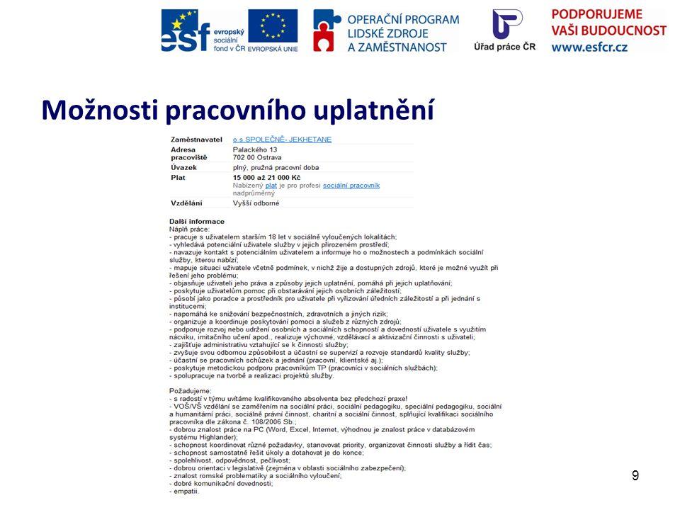 10 Potenciální zaměstnavatelé: -Armáda spásy v České republice, z.s.