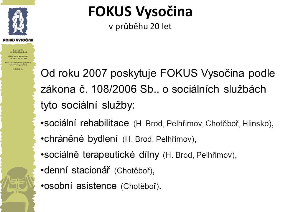 FOKUS Vysočina v průběhu 20 let Od roku 2007 poskytuje FOKUS Vysočina podle zákona č. 108/2006 Sb., o sociálních službách tyto sociální služby: sociál